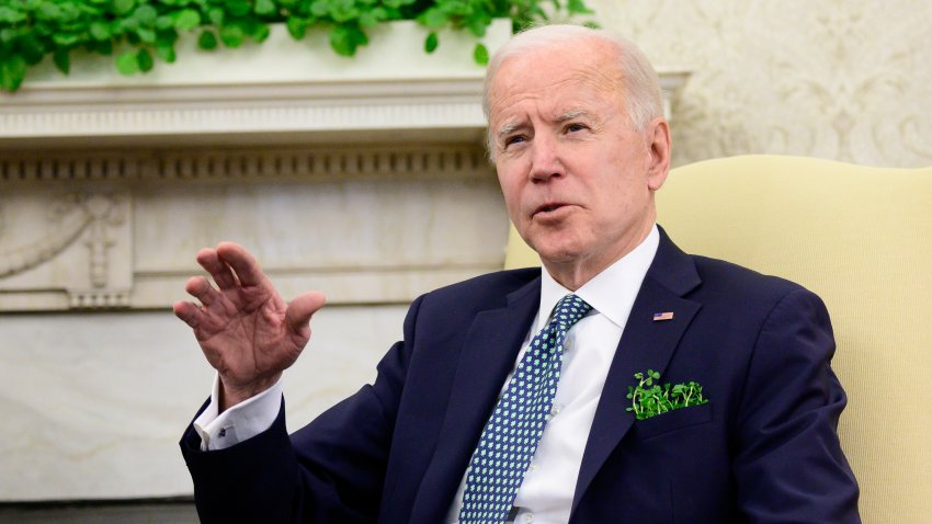 U.S. President Joe Biden speaks while meeting virtually with Micheal Martin, Ireland's prime minister, not pictured, in the Oval Office of the White House in Washington, D.C., U.S., on Wednesday, March 17, 2021. House Republicans voted to allow their members to request dedicated-spending projects, known as earmarks, following that same move by Democrats, in a positive sign for Biden's hopes for a bipartisan infrastructure bill.