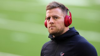 HOUSTON, TEXAS - JANUARY 03: J.J. Watt #99 of the Houston Texans participates in warmups prior to a game against the Tennessee Titans at NRG Stadium on January 03, 2021 in Houston, Texas.