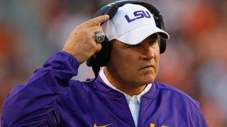 In this Sept. 24, 2016, file photo, head coach Les Miles of the LSU Tigers looks on during the game against the Auburn Tigers at Jordan-Hare Stadium in Auburn, Alabama.