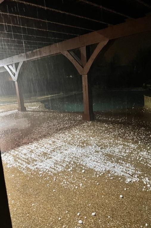 Hail in Davie Witte's backyard in Haslet