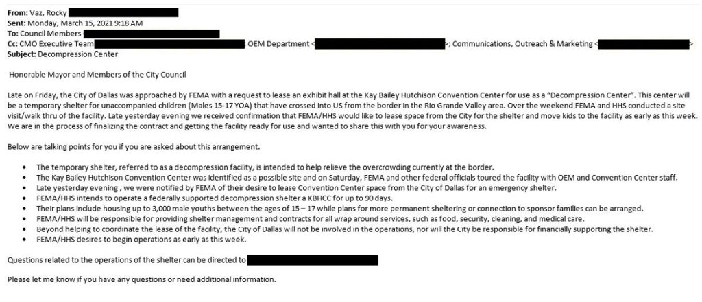 A memo from the city of Dallas' director of emergency management to city council members obtained by NBC 5 News on Monday, March 15, 2021.