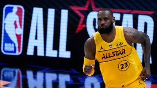 LeBron James plays during the first half of basketball's NBA All-Star Game in Atlanta, Sunday, March 7, 2021.