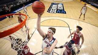 Drew Timme #2 of the Gonzaga Bulldogs shoots against the Oklahoma Sooners in the second round game of the 2021 NCAA Men's Basketball Tournament at Hinkle Fieldhouse on March 22, 2021 in Indianapolis, Indiana.