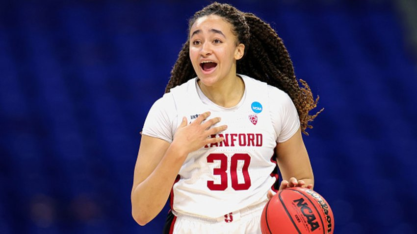 Haley Jones #30 of the Stanford Cardinals controls the ball against the Utah Valley Wolverines during the second half in the first round game of the 2021 NCAA Women's Basketball Tournament at the Alamodome on March 21, 2021 in San Antonio, Texas.
