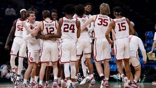 The Oklahoma Sooners celebrate after defeating the Missouri Tigers in the first round game of the 2021 NCAA Men's Basketball Tournament at Lucas Oil Stadium on March 20, 2021 in Indianapolis, Indiana.