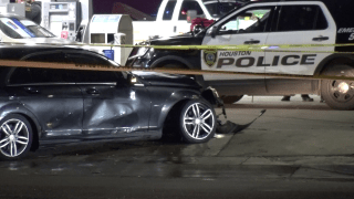 A shooting by a police officer in Houston critically wounded a baby and killed a man who was driving a car linked to several robberies, authorities said.