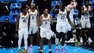 Picture of Baylor players celebrating their win against Houston in Final Four Match.