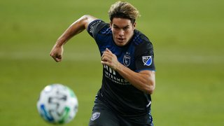 FILE: Cade Cowell #44 of the San Jose Earthquakes during a game between Real Salt Lake and San Jose Earthquakes at Earthquakes Stadium on Oct. 28, 2020 in San Jose, California.