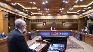 Head of the Atomic Energy Organization of Iran Ali Akbar Salehi speaks during opening ceremony of nuclear projects in different regions of the country via video conference on 11th anniversary of National Nuclear Technology Day in Tehran, Iran on April 10, 2021.