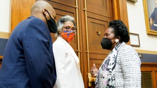Rep. Joyce Beatty, D-Ohio, center, listens as Rep. Sheila Jackson Lee, D-Tex., right, chair of the Subcommittee on Crime, Terrorism, and Homeland Security, attends a markup in the House Judiciary Committee of a bill to create a commission to study and address social disparities in the African American community on April 14, 2021. Rep. Jackson-Lee is the sponsor of that legislation.