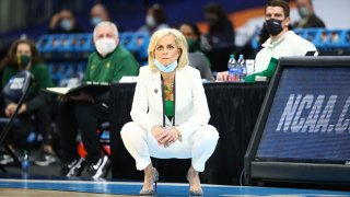 Head coach Kim Mulkey of the Baylor Lady Bears looks on from the sideline against the UConn Huskies during the second quarter in the Elite Eight round of the 2021 NCAA Women's Basketball Tournament at Alamodome on March 29, 2021 in San Antonio, Texas.