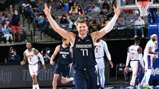 Luka Doncic #77 of the Dallas Mavericks celebrates during the game against the Los Angeles Lakers on April 24, 2021 at the American Airlines Center in Dallas, Texas.