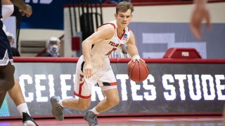 Mac McClung #0 of the Texas Tech Red Raiders during the first round of the 2021 NCAA Division I Mens Basketball Tournament against Utah State Aggies held at Simon Skjodt Assembly Hall on March 19, 2021 in Bloomington, Indiana.