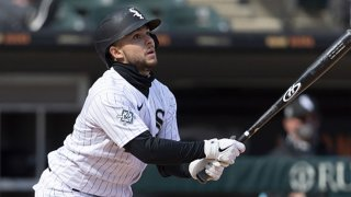 FILE: Nick Madrigal #42 of the Chicago White Sox bat against the Cleveland Indians as Major League Baseball celebrated Jackie Robinson Day on April 15, 2021 at Guaranteed Rate Field in Chicago, Illinois.