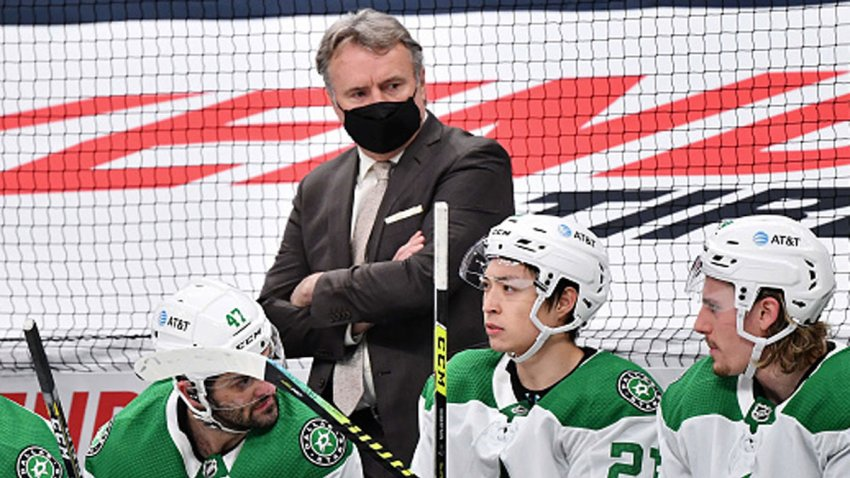 FILE: Head Coach Rick Bowness of the Dallas Stars watches his team play against the Columbus Blue Jackets at Nationwide Arena on March 14, 2021 in Columbus, Ohio.
