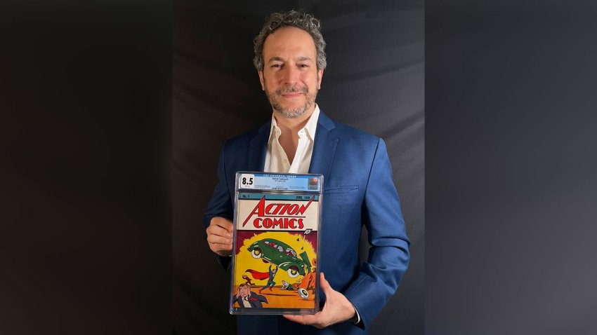 This photo provided by Metropolis Collectibles on Tuesday, April 6, 2021, shows Vincent Zurzolo, co-owner of ComicConnect, holding Action Comics first edition 1938 comic book marking Superman's first appearance, which has sold for an historic, record-breaking $3,250,000.