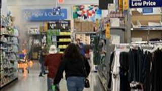 A fire inside a Walmart in Denton, Texas on Monday, April 12, 2021.