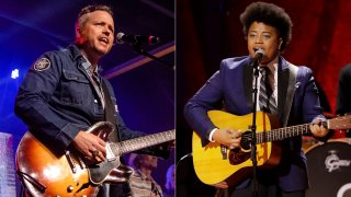 Jason Isbell performs at the To Nashville, With Love Benefit Concert in Nashville, Tenn. on March 9, 2020, left, and Amythyst Kiah of Our Native Daughters performs