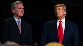 President Donald Trump stands with House Minority Leader Kevin McCarthy of Calif., during an event on California water accessibility, Wednesday, Feb. 19, 2020, in Bakersfield, Calif.