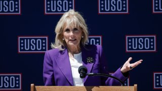 First lady Jill Biden speaks to military spouses during a visit at Patio, Family Advocacy Center, Army Community Services Annex in Colorado Springs, Colo., Thursday, May 6, 2021.
