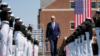 President Joe Biden arrives to speak at the commencement for the United States Coast Guard Academy in New London, Conn., Wednesday, May 19, 2021.