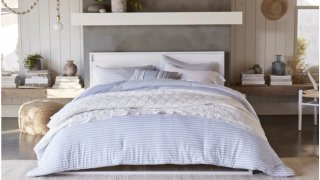This photo provided by Walmart shows bedding from the Gap's home collection