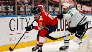 Aleksander Barkov #16 of the Florida Panthers skates for possession against Esa Lindell #23 of the Dallas Stars at the BB&T Center on May 3, 2021 in Sunrise, Florida.