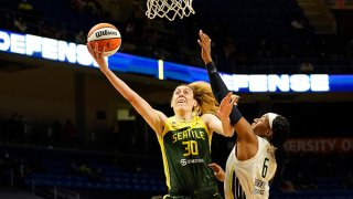 Breanna Stewart #30 of the Seattle Storm drives to the basket during the game against the Dallas Wings on May 22, 2021 at College Park Center in Arlington, Texas.
