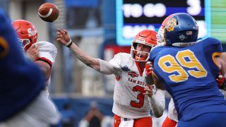 Eric Schmid #3 of the Sam Houston State Bearkats throws against the South Dakota State Jackrabbits in the fourth quarter during the 2021 NCAA Division I Football Championship at Toyota Stadium on May 16, 2021 in Frisco, Texas.