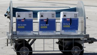 Photo taken on May 4, 2021 shows boxes of COVID-19 vaccines from the European Union arriving at the International Airport in Sarajevo, Bosnia and Herzegovina. A batch of 10,530 doses of the Pfizer-BioNTech COVID-19 vaccine sent by the European Union arrived in Sarajevo on Tuesday.