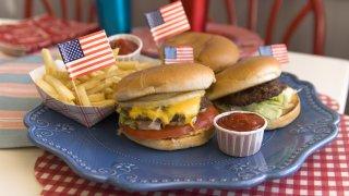 burgers on a platter