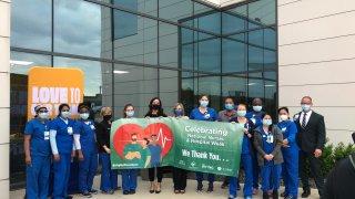 Baylor White & Scott Health employees celebrating nurses week and hospital week