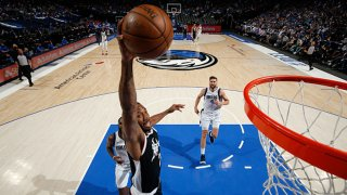 Kawhi Leonard #2 of the LA Clippers dunks the ball during the game against the Dallas Mavericks during Round 1, Game 3 of the 2021 NBA Playoffs on May 30, 2021 at the American Airlines Center in Dallas, Texas.