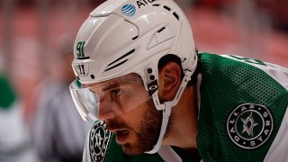Tyler Seguin #91 of the Dallas Stars gets set for a face against the Florida Panthers at the BB&T Center on May 3, 2021 in Sunrise, Florida.