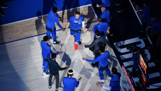 Luka Doncic #77 of the Dallas Mavericks is introduced before the game against the LA Clippers during Round 1, Game 3 of the 2021 NBA Playoffs on May 28, 2021 at the American Airlines Center in Dallas, Texas.