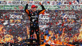 Pato O'Ward of Mexico, driver of the #5 Arrow McLaren SP Chevrolet, celebrates in Victory Lane after winning the NTT IndyCar Series XPEL 375 at Texas Motor Speedway on May 2, 2021 in Fort Worth, Texas.