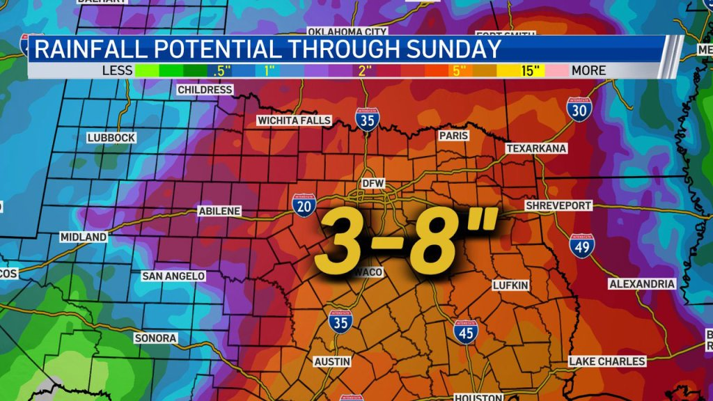 """Rain totals today through Sunday could be as high as 8""""."""