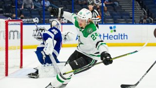 Roope Hintz #24 of the Dallas Stars celebrates a goal against the Tampa Bay Lightning during the second period at Amalie Arena on May 7, 2021 in Tampa, Florida.