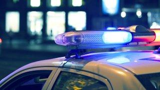 Police car lights flashing