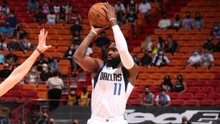 Tim Hardaway Jr. #11 of the Dallas Mavericks shoots the ball against the Miami Heat on May 4, 2021 at American Airlines Arena in Miami, Florida.
