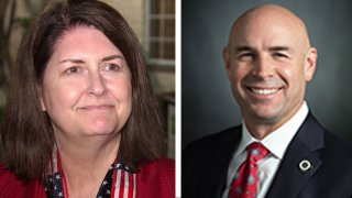 Susan Wright, left, and state Rep. Jake Ellzey, right, will meet in a runoff election to fill the seat of Wright's late husband, Congressman Ron Wright, who died after contracting COVID-19 earlier this year.