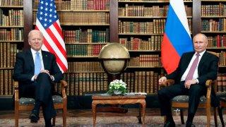 Russian President Vladimir Putin and U.S. President Joe Biden attend a meeting at Villa La Grange in Geneva, Switzerland June 16, 2021.