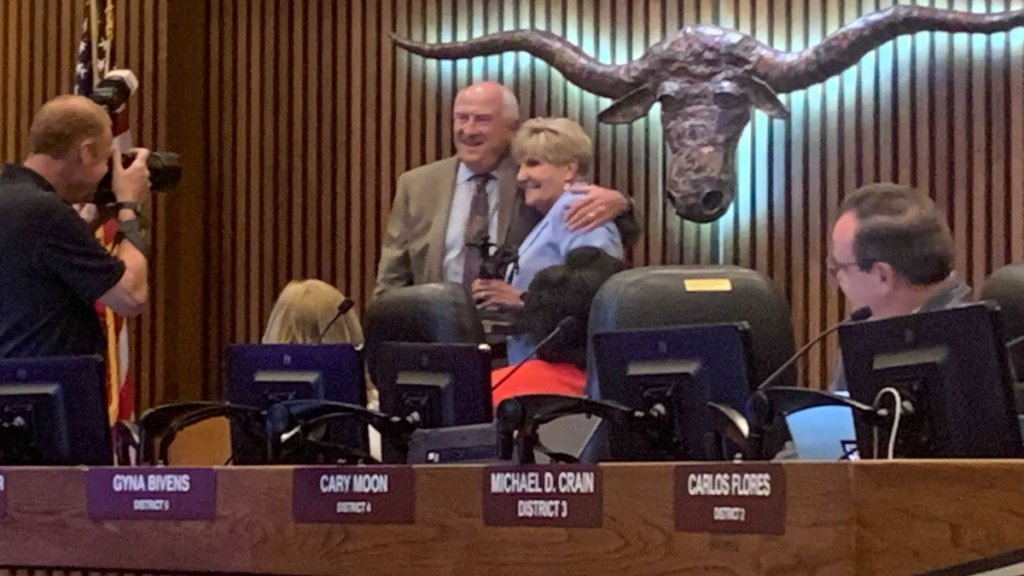 Fort Worth City Council member Dennis Shingleton, left, and Mayor Betsy Price, right, pose together at their final council meeting in office on Tuesday, June 8, 2021 in Fort Worth, Texas.