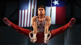 Brody Malone #6 competes on the rings during the Men's Senior competition of the U. S. Gymnastics Championships at Dickies Arena on June 5, 2021 in Fort Worth, Texas.