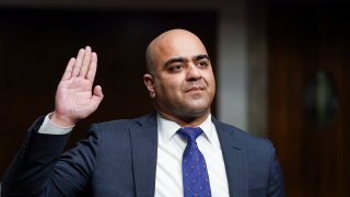 Zahid Quraishi, nominated by U.S. President Joe Biden to be a U.S. District Judge for the District of New Jersey, is sworn in to testify before a Senate Judiciary Committee hearing on pending judicial nominations on Capitol Hill, April 28, 2021 in Washington, DC. The committee is holding the hearing on pending judicial nominations.