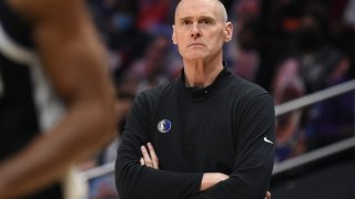 Head Coach Rick Carlisle of the Dallas Mavericks looks on during Round 1, Game 5 of the 2021 NBA Playoffs on June 2, 2021 at STAPLES Center in Los Angeles, California.