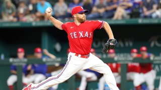 Ian Kennedy #31 of the Texas Rangers pitches against the Tampa Bay Rays at Globe Life Field on June 04, 2021 in Arlington, Texas.