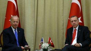In this file photo, Turkish President Recep Tayyip Erdogan (R) meets US Vice President Joe Biden (L) in New York, United States on September 21, 2016.