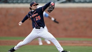 FILE: Griff McGarry #25 of Virginia throws a pitch during a game between Virginia and North Carolina at Boshamer Stadium on Feb. 27, 2021 in Chapel Hill, North Carolina.