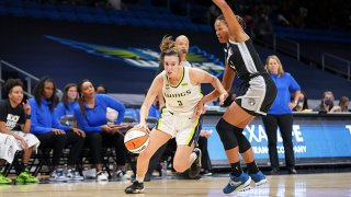 Marina Mabrey #3 of the Dallas Wings drives to the basket during the game as 'ml24; plays defense on June 19, 2021 at College Park Center in Arlington, Texas.